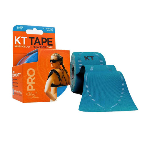 """KT Tape Pro Synthetic Kinesiology Therapeutic Sports Tape, 20 Precut 10"""" Strips (Laser Blue)"""