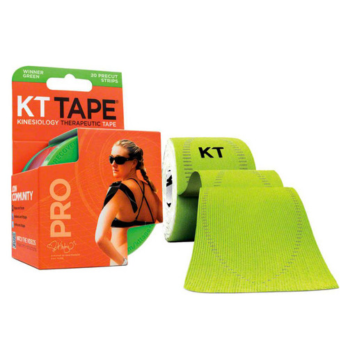 """KT Tape Pro Synthetic Kinesiology Therapeutic Sports Tape, 20 Precut 10"""" Strips (Winner Green)"""