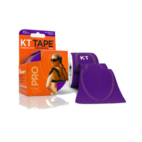 """KT Tape Pro Synthetic Kinesiology Therapeutic Sports Tape, 20 Precut 10"""" Strips (Epic Purple)"""