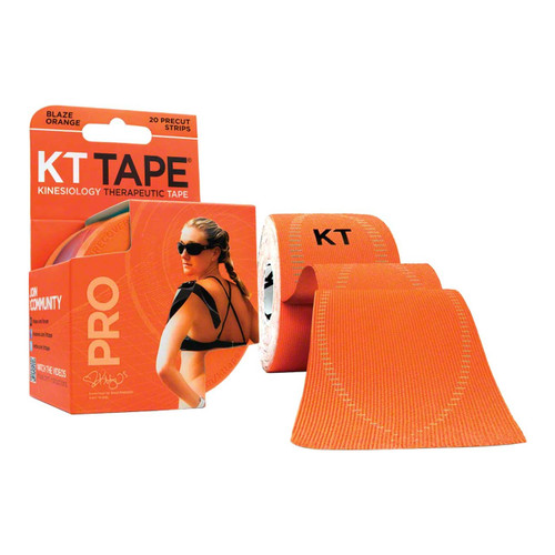 "KT Tape Pro Synthetic Kinesiology Therapeutic Sports Tape, 20 Precut 10"" Strips (Blaze Orange)"