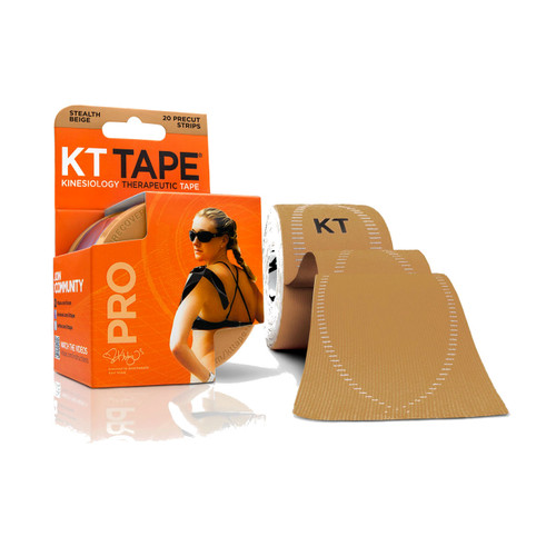 """KT Tape Pro Synthetic Kinesiology Therapeutic Sports Tape, 20 Precut 10"""" Strips (Stealth Beige)"""