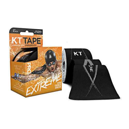"""KT Tape Pro Extreme Synthetic Kinesiology Therapeutic Sports Tape, 20 Precut, 10"""" Strips (Jet Black)"""