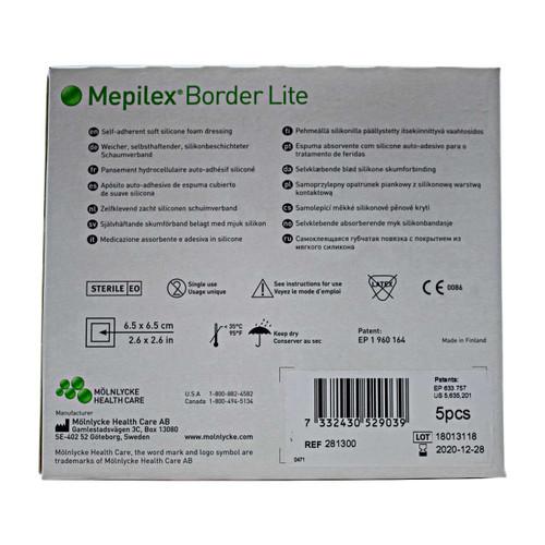 Molnlycke 281300 Mepilex Border Lite, Self-Adherent Soft Silicone Foam Dressing (Box of 5)