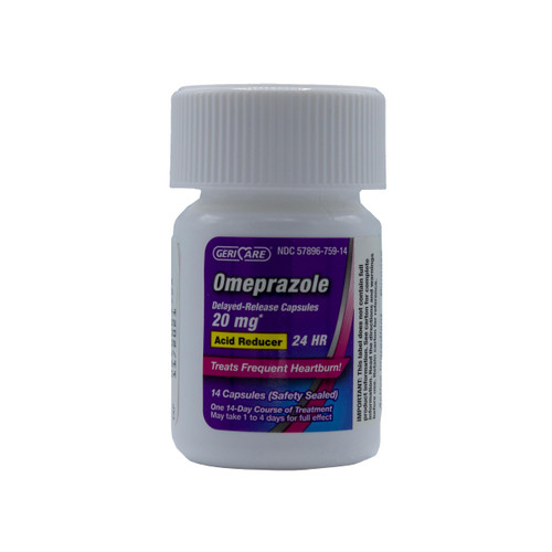 Geri-Care Omeprazole Delayed Release Capsules 20 mg, Acid Reducer, Treats Heartburn, 42 Count