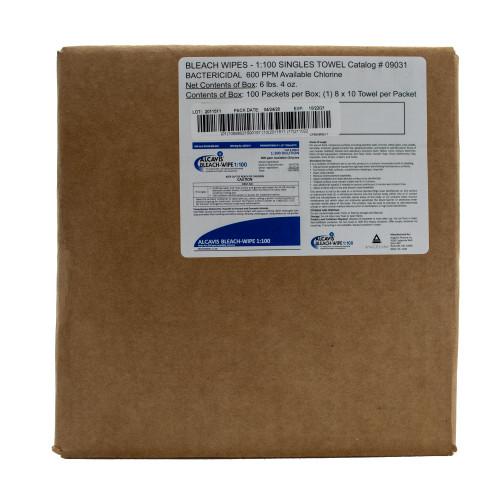 Alcavis 1:100 Surface Disinfectant, Premoistened Bleach Wipes Wipe (100 wipes)