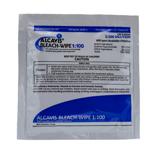 Alcavis 1:100 Surface Disinfectant, Premoistened Bleach Wipes Wipe (100 wipes)