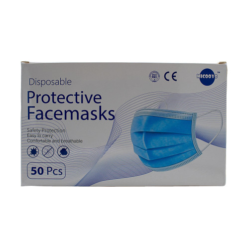 Disposable 3-ply face masks (Box of 50)