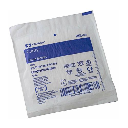 "Covidien 3033 Curity Gauze peel back package 4"" x 4"" (Box of 50)"