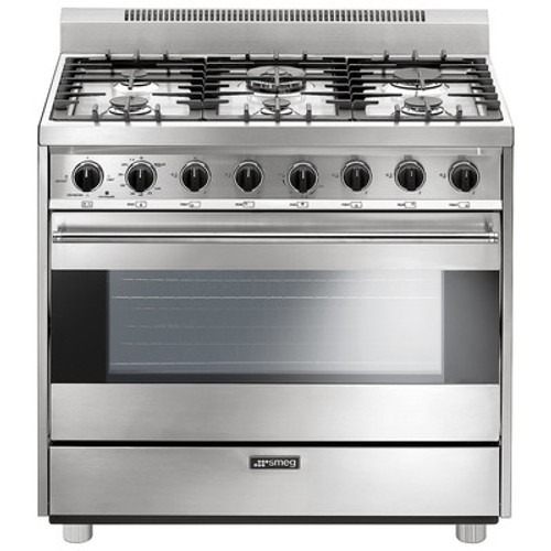 "Smeg 36"" All Gas Range - Stainless Steel"