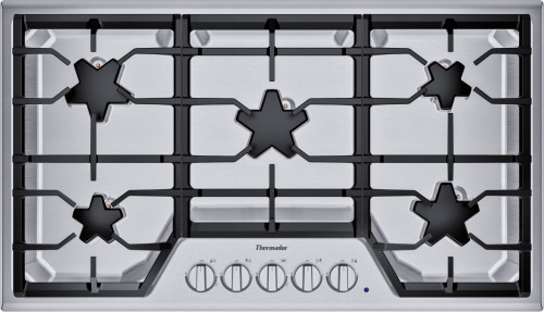 "Thermador 36"" Gas Cooktop - Extra Low Simmer w/ Stainless Steel Control Panel"