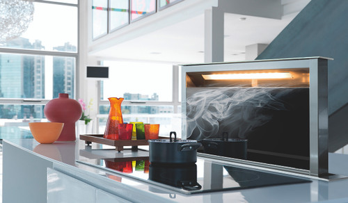 """Faber Scirocco Lux 36"""" Down Draft Hood - Black Glass"""