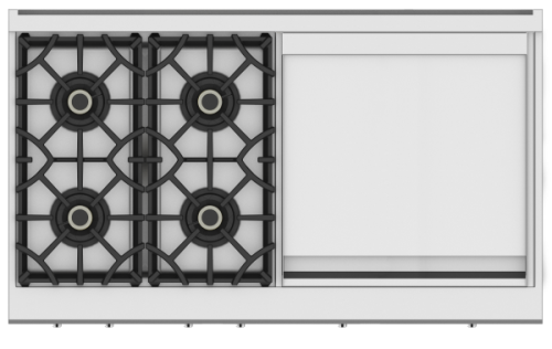 "Hestan 48"" 4 Burner Range top with 24"" Griddle"