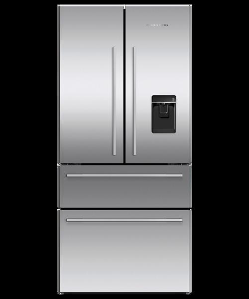 """Fisher & Paykel 32"""" Contemporary Freestanding French Door Fridge w/ Ice & Water - Four Door Design"""