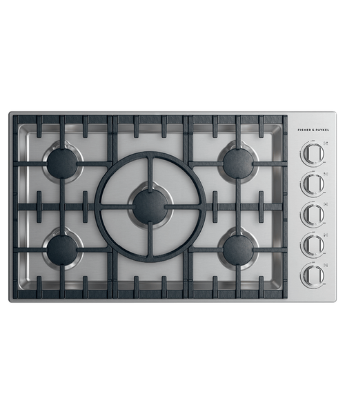 """Fisher & Paykel 36"""" Professional Gas Cooktop w/ 5 Burners - Halo Control"""
