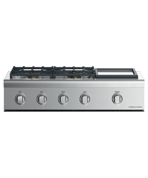 """Fisher & Paykel 36"""" Professional Gas Rangetop w/ 4 Burners - Griddle"""