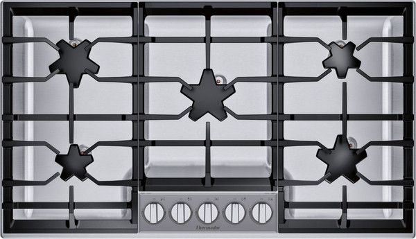 """Thermador 36"""" Gas Cooktop - 5 Elements & Glass Control Panel"""
