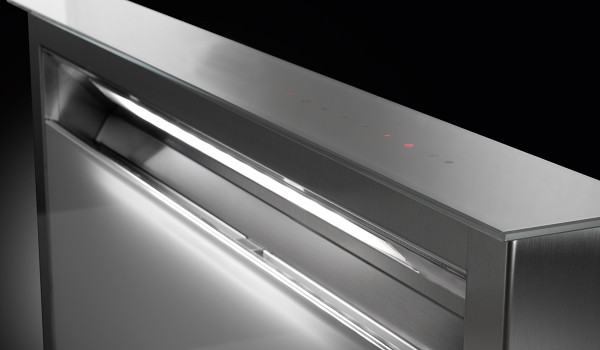 """Faber Scirocco Lux 36"""" Down Draft Hood - Grey Glass"""