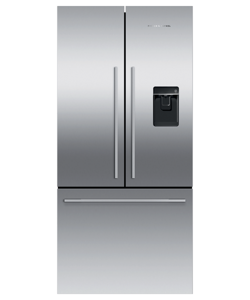 "Fisher & Paykel 32"" Contemporary Freestanding French Door Fridge w/ Ice & Water"