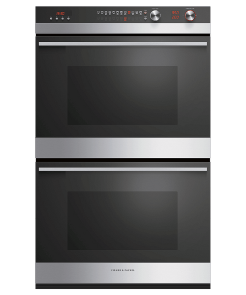 "Fisher & Paykel 30"" Contemporary Double Wall Oven w/ Stainless Steel Trim - 11 Functions"