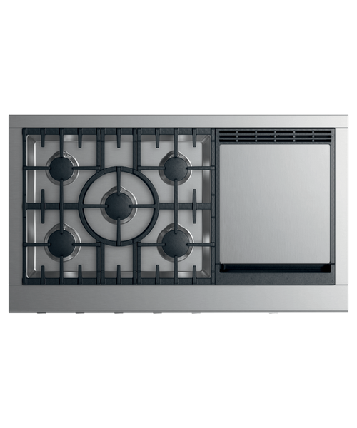 """Fisher & Paykel 48"""" Professional Gas Rangetop w/ 5 Burners - Griddle"""