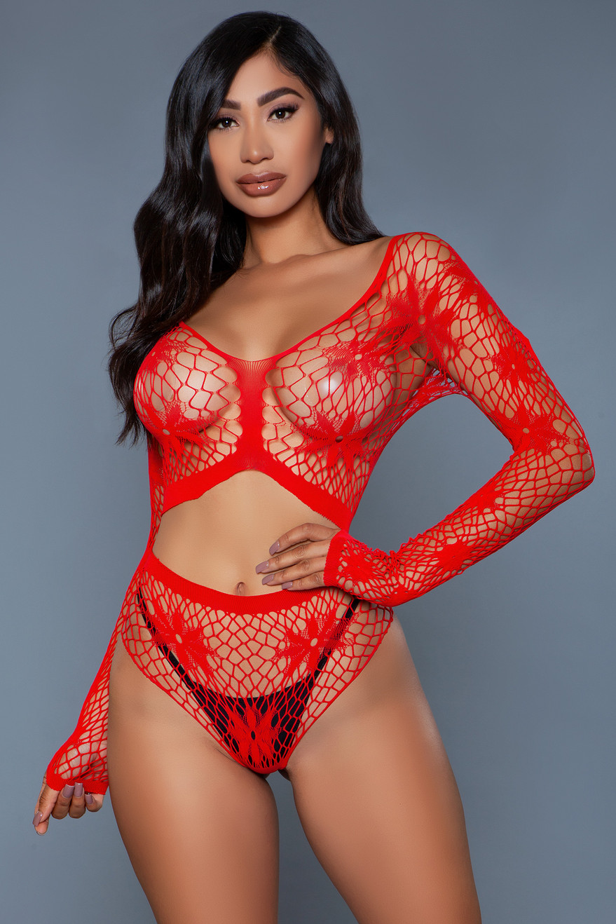 2153 Floral Delight Bodystocking Red