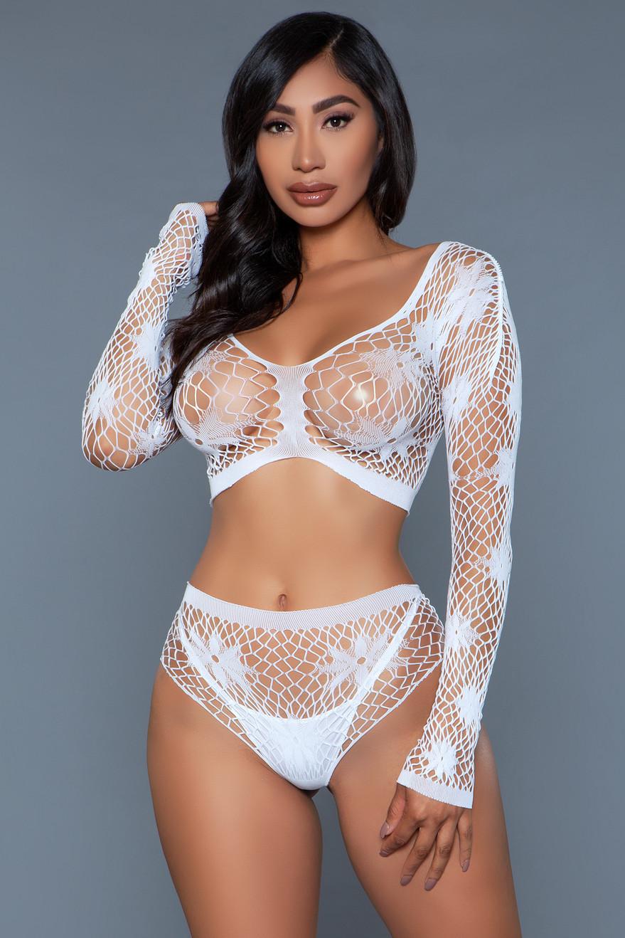 2153 Floral Delight Bodystocking White
