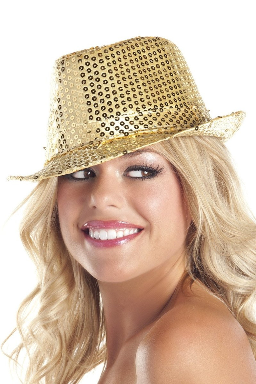 BW0708GD Sequin Fedora Hat - Gold
