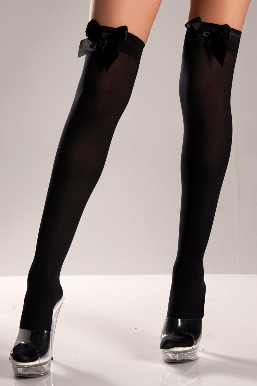 BW519B Black Opaque Thigh Highs