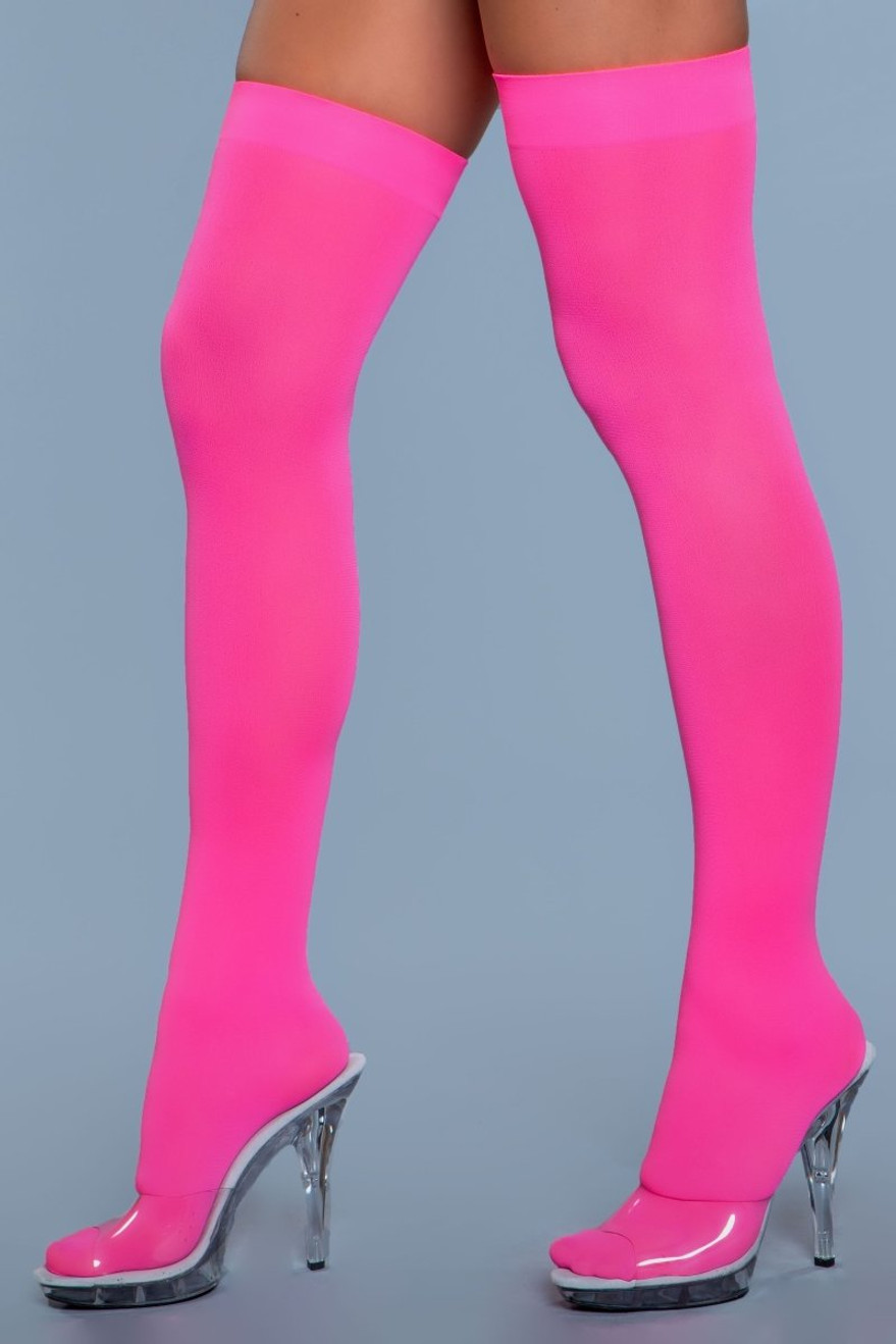 1932 Opaque Nylon Thigh Highs Neon Pink