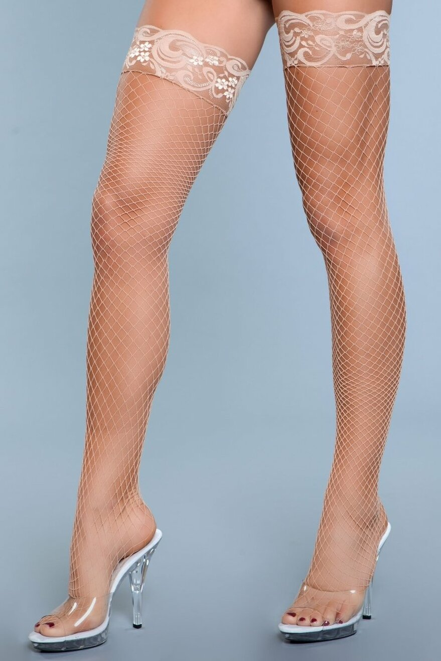 1916 Amber Lace Top Fishnet Thigh Highs Nude