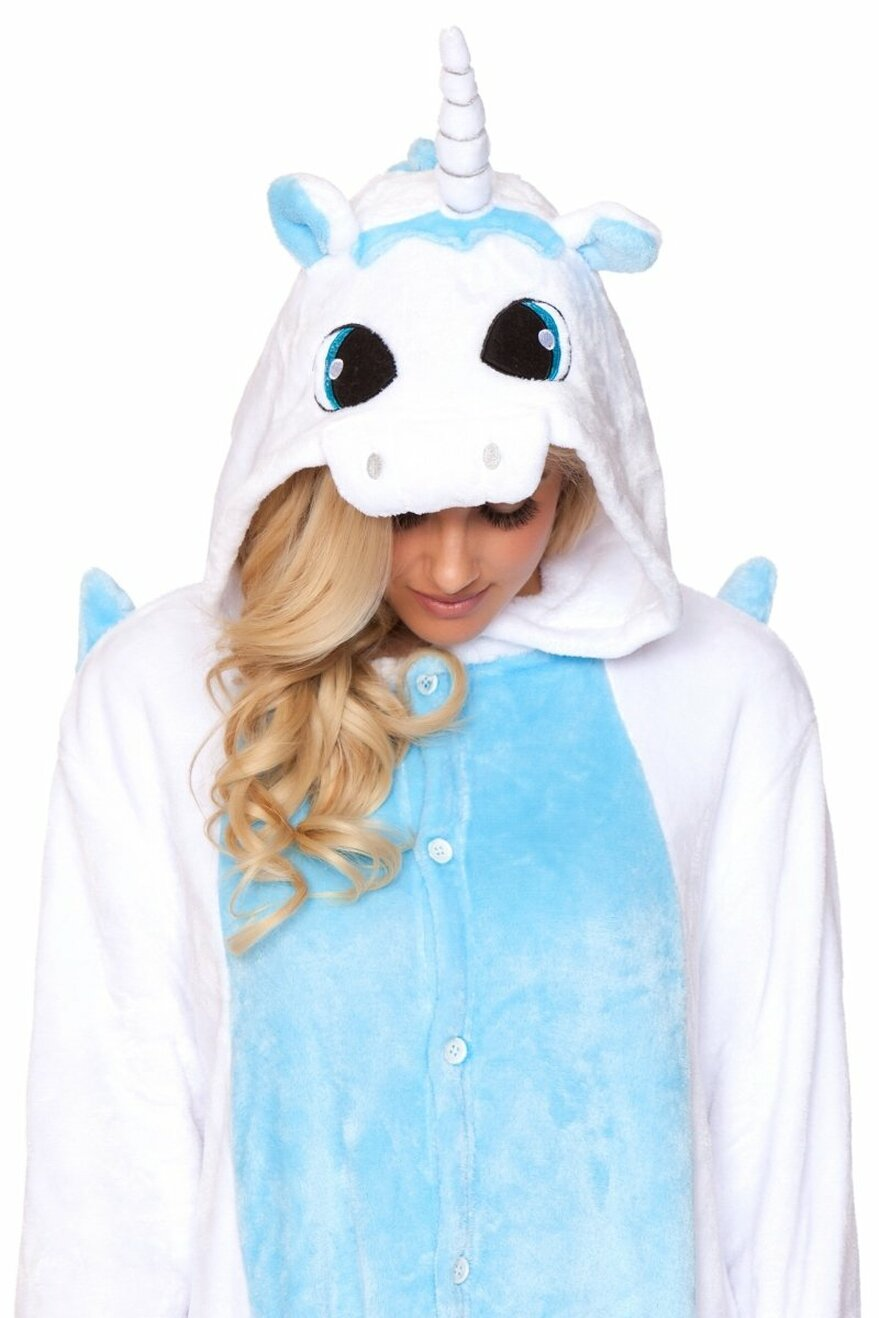 C1818 WHITE UNICORN Adult Onesie
