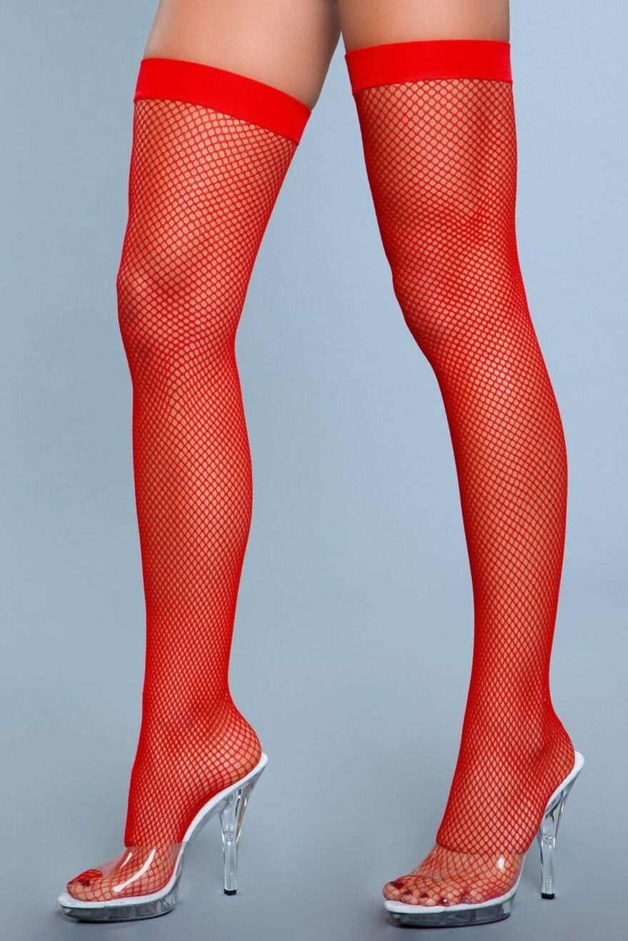 1931 Nylon Fishnet Thigh Highs Red