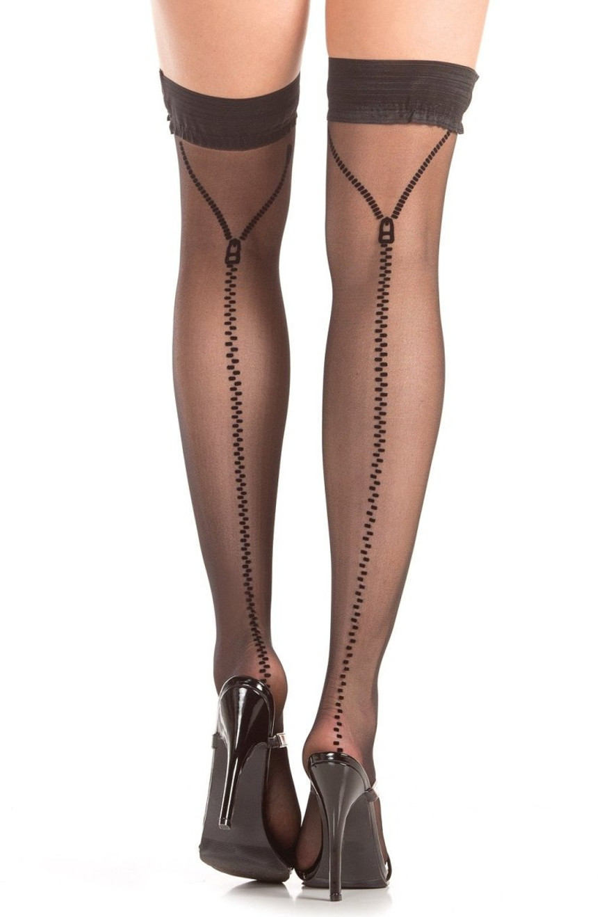 BW787 Zip Me Up Thigh Highs