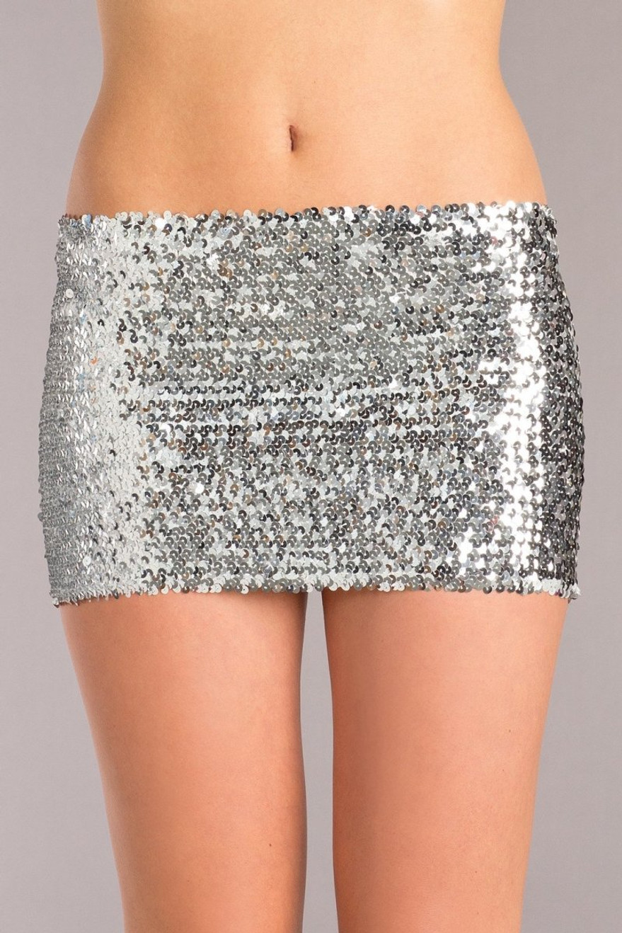 BW1677SL Sequin Skirt - Silver