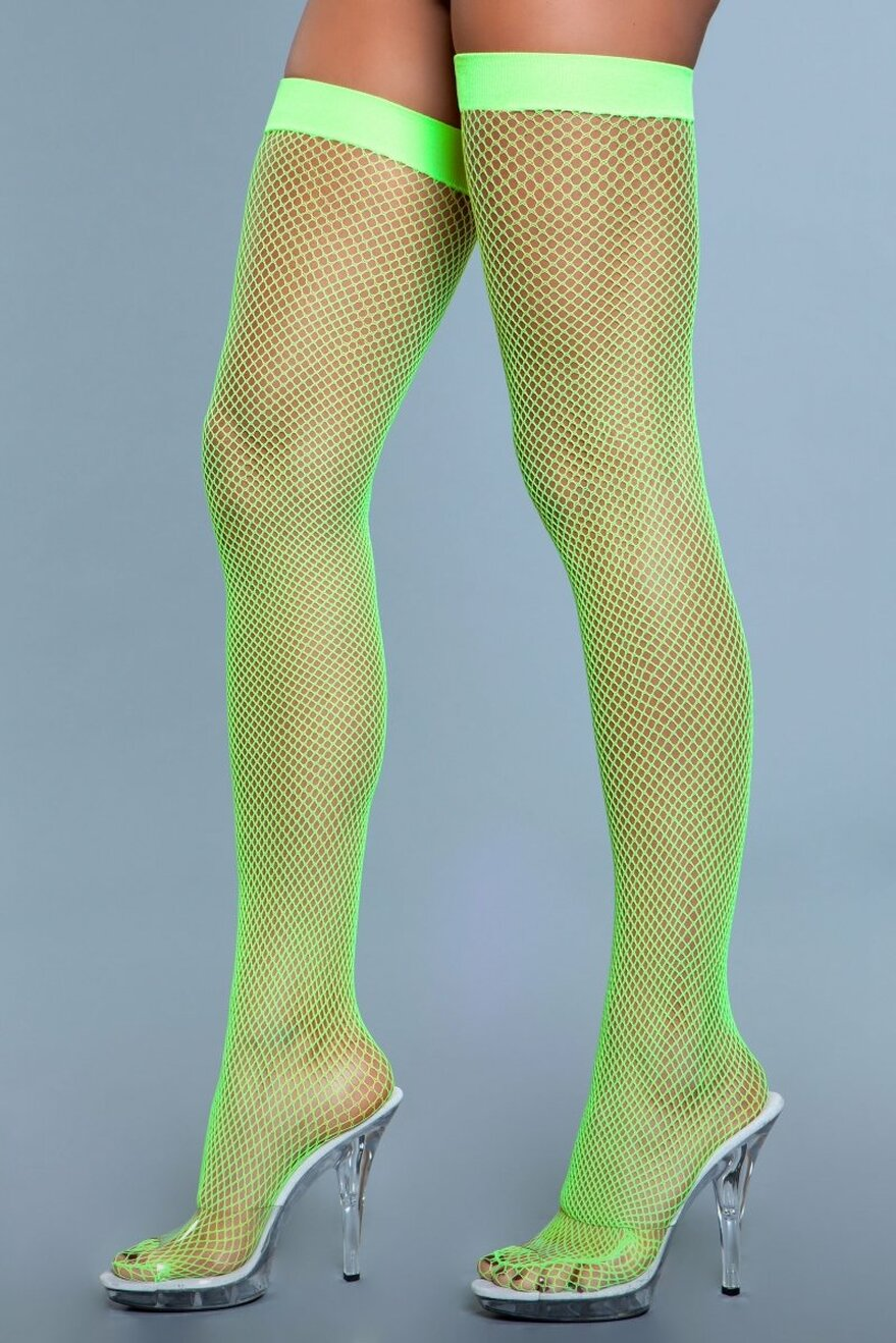 1931 Nylon Fishnet Thigh Highs Neon Green