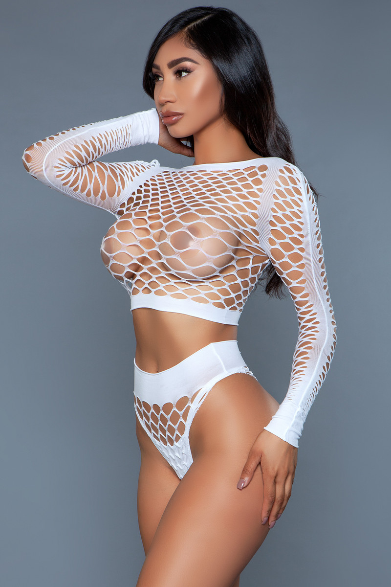2155 Play With Me Bodystocking White