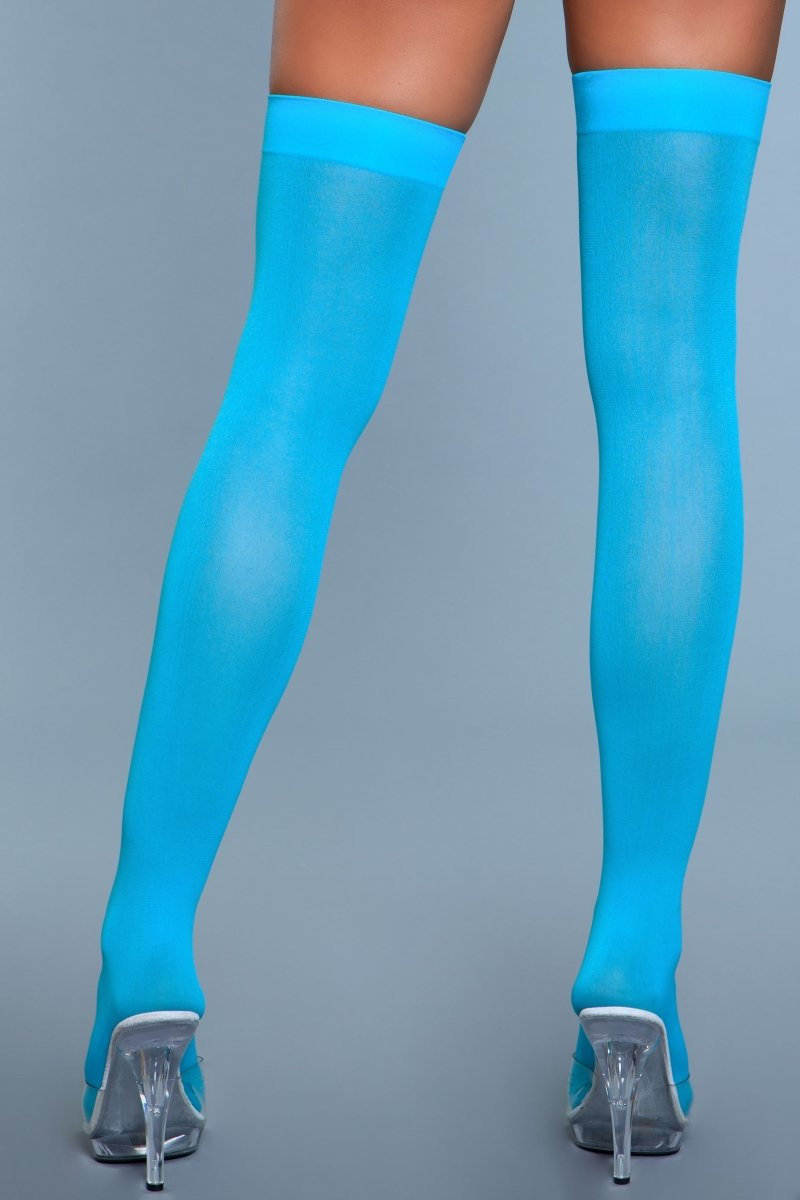 1932 Opaque Nylon Thigh Highs Turquoise