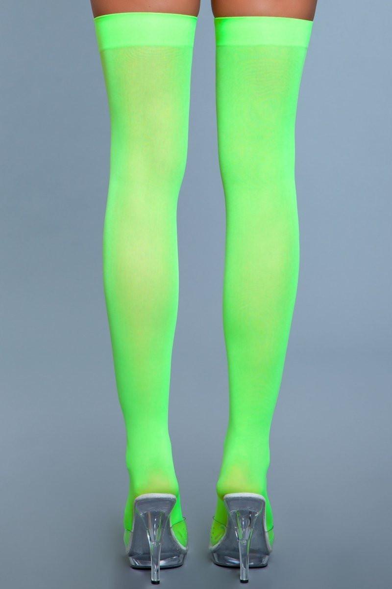 1932 Opaque Nylon Thigh Highs Neon Green