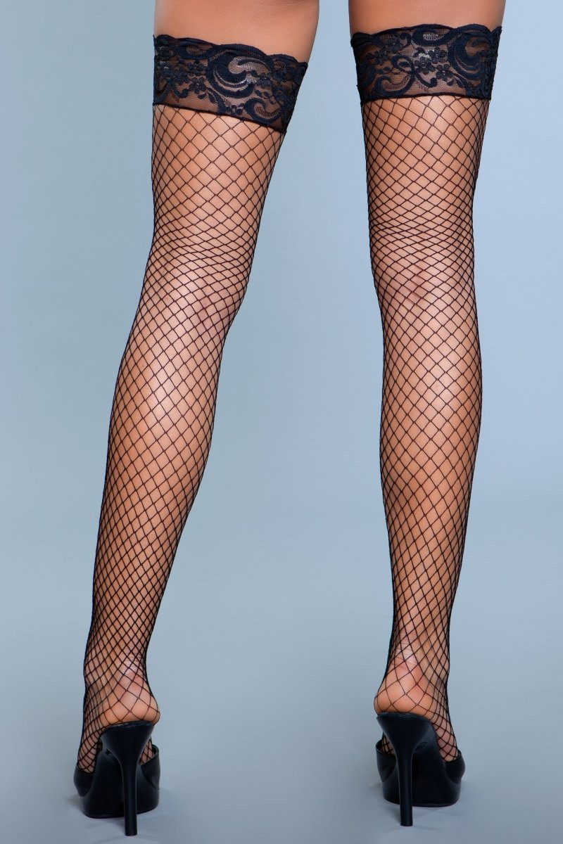 1916 Amber Lace Top Fishnet Thigh Highs Black