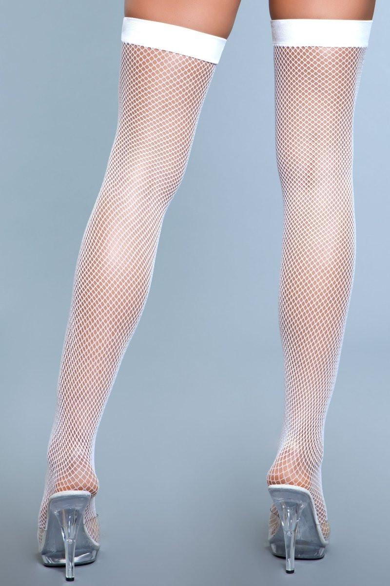 1931 Nylon Fishnet Thigh Highs White