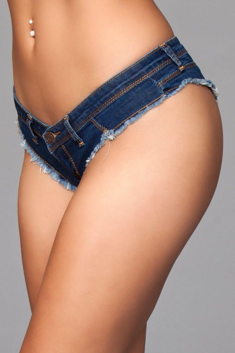 J8BL Buns Out Cheeky Shorts - Dark Wash
