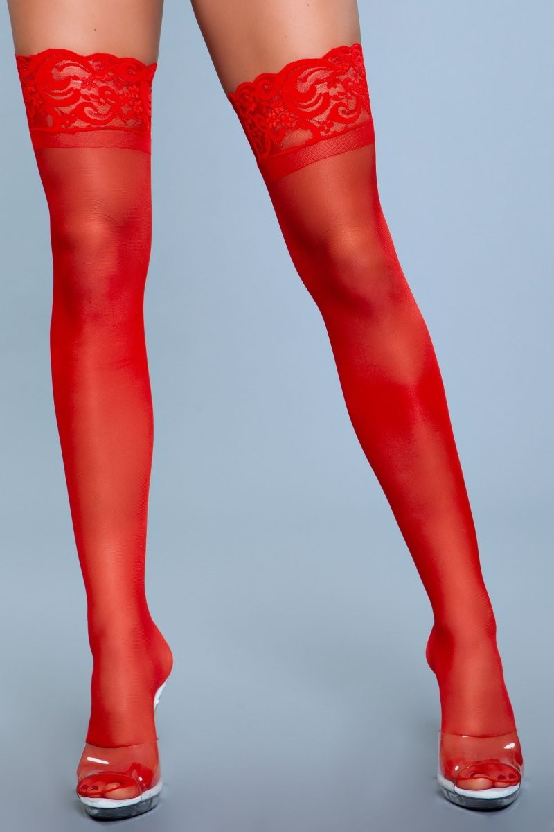 1919 Lace Over It Thigh Highs Red
