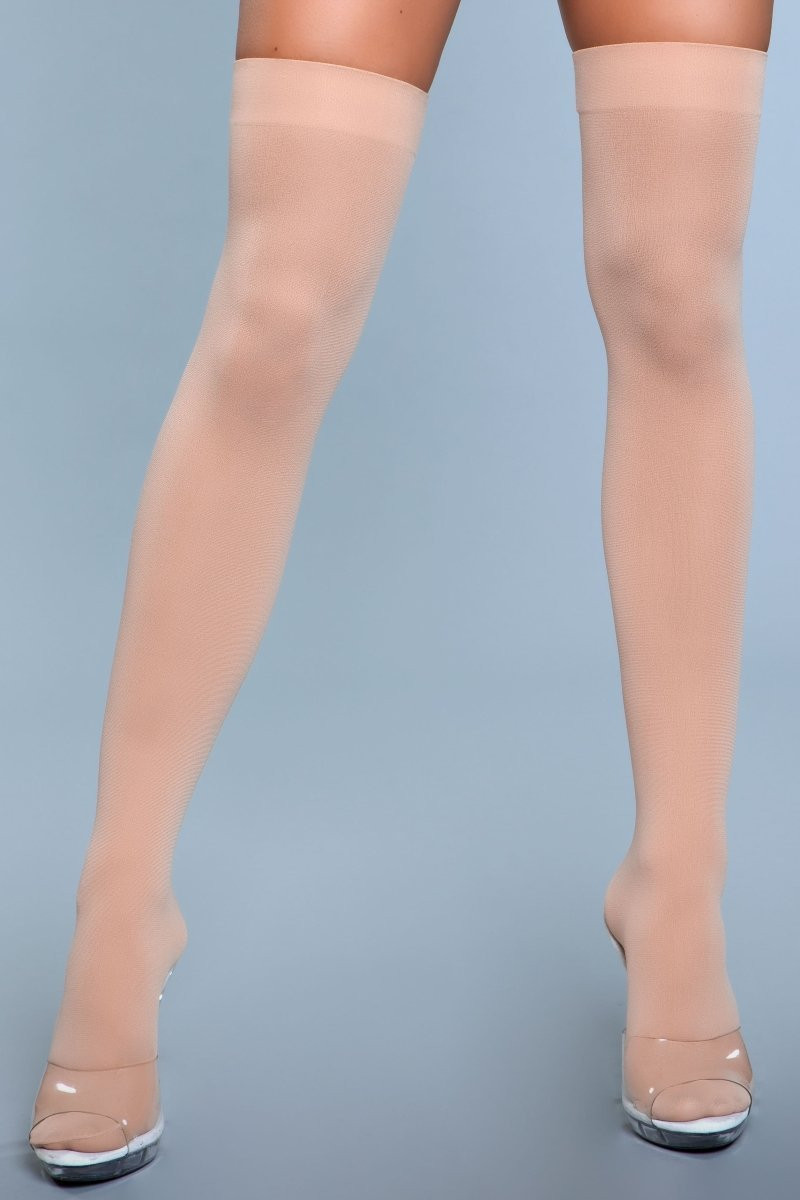 1932 Opaque Nylon Thigh Highs Nude
