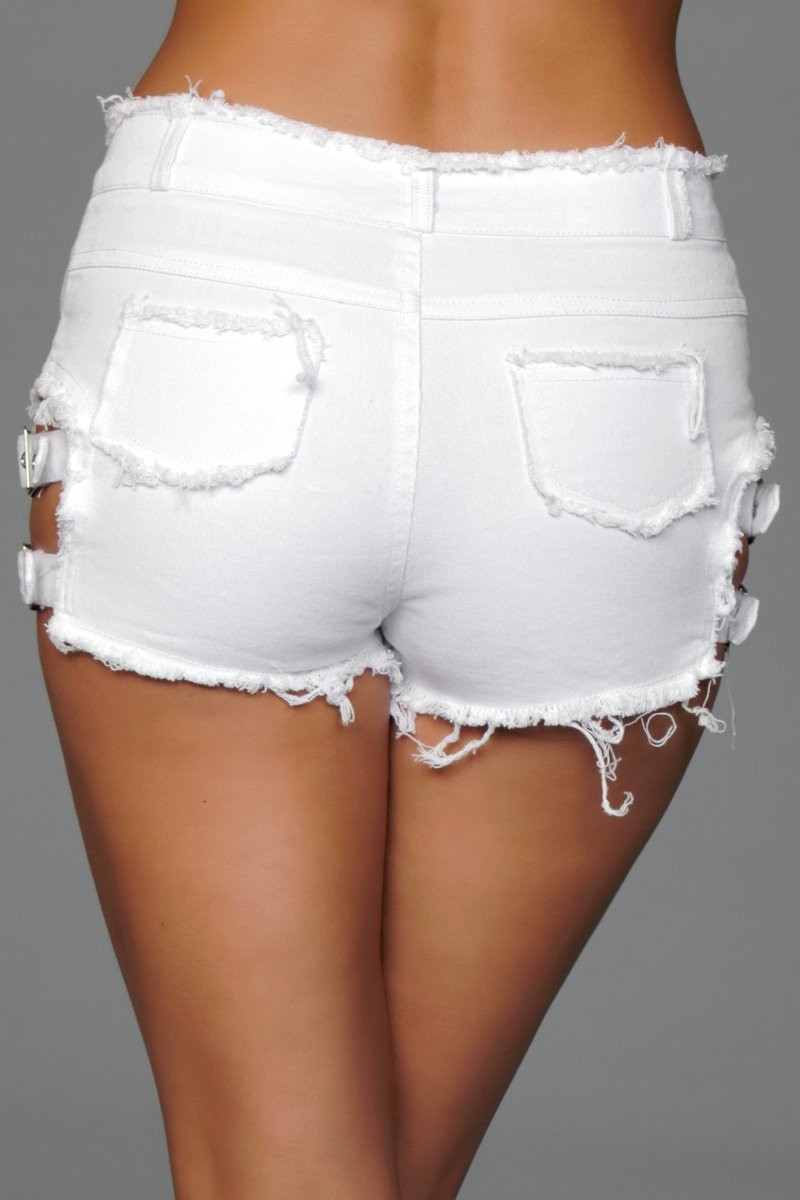 J10WT Buckled Down Denim Shorts - White