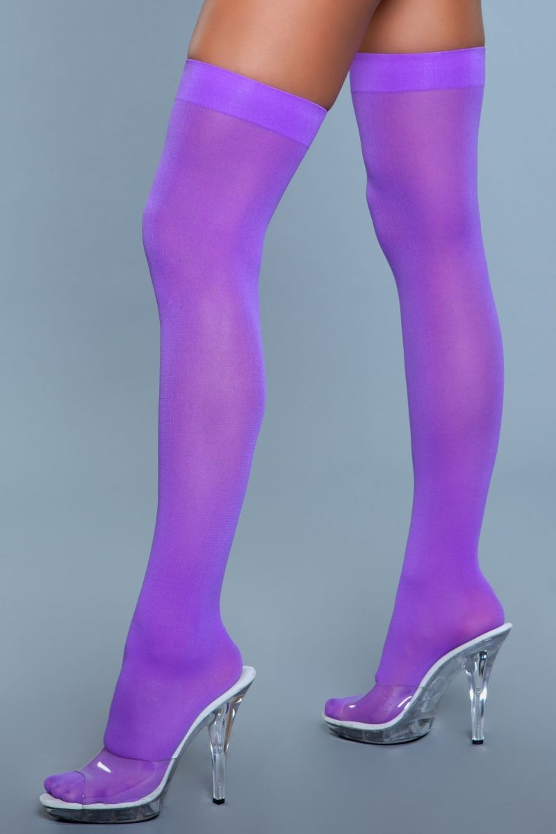 1932 Opaque Nylon Thigh Highs Purple