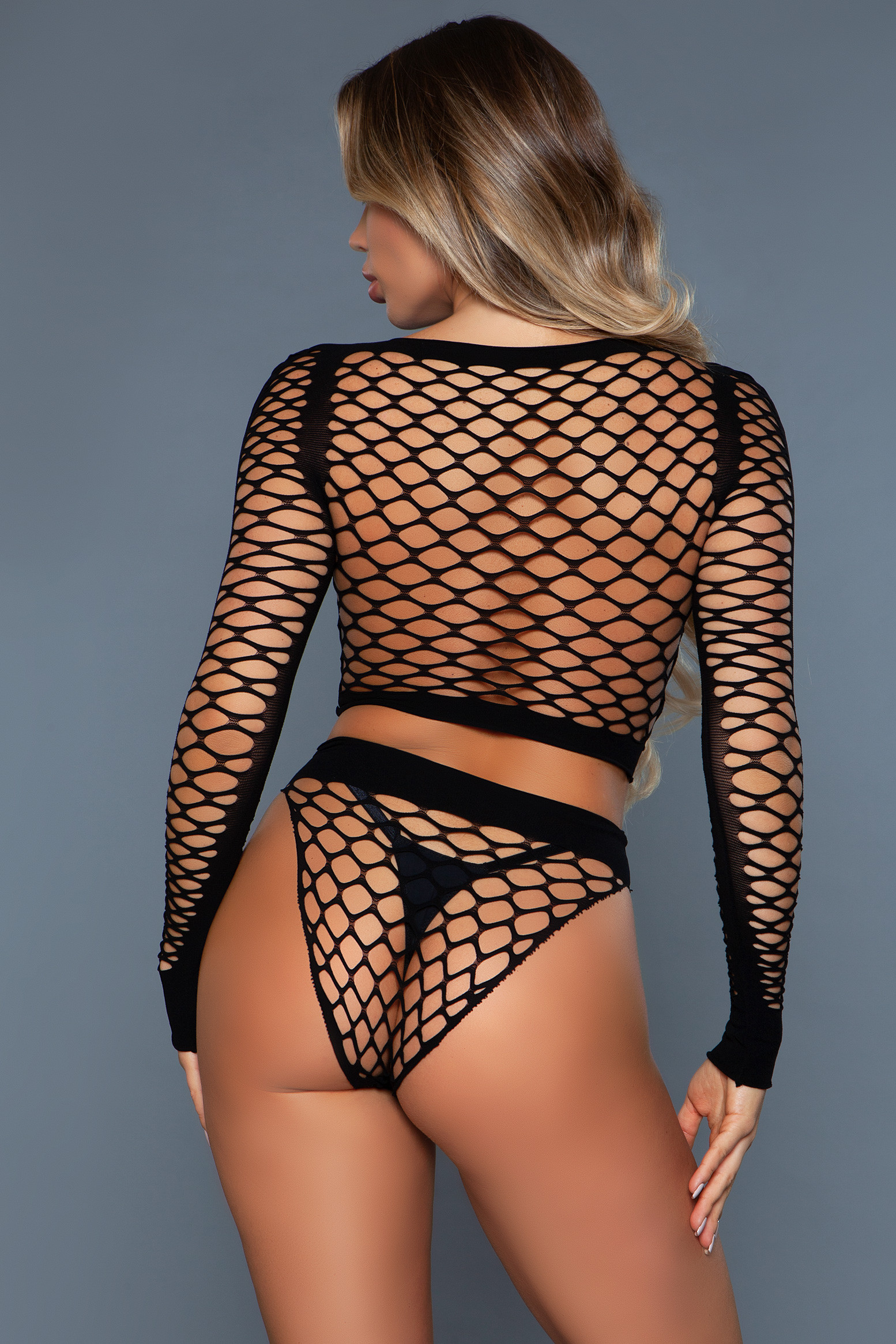 2155 Play With Me Bodystocking Black