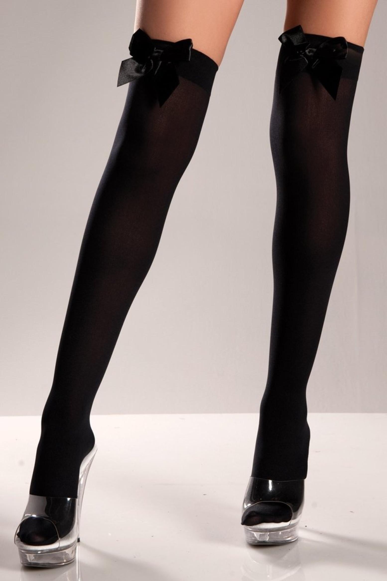 BW519B Black Opaque Thigh Highs