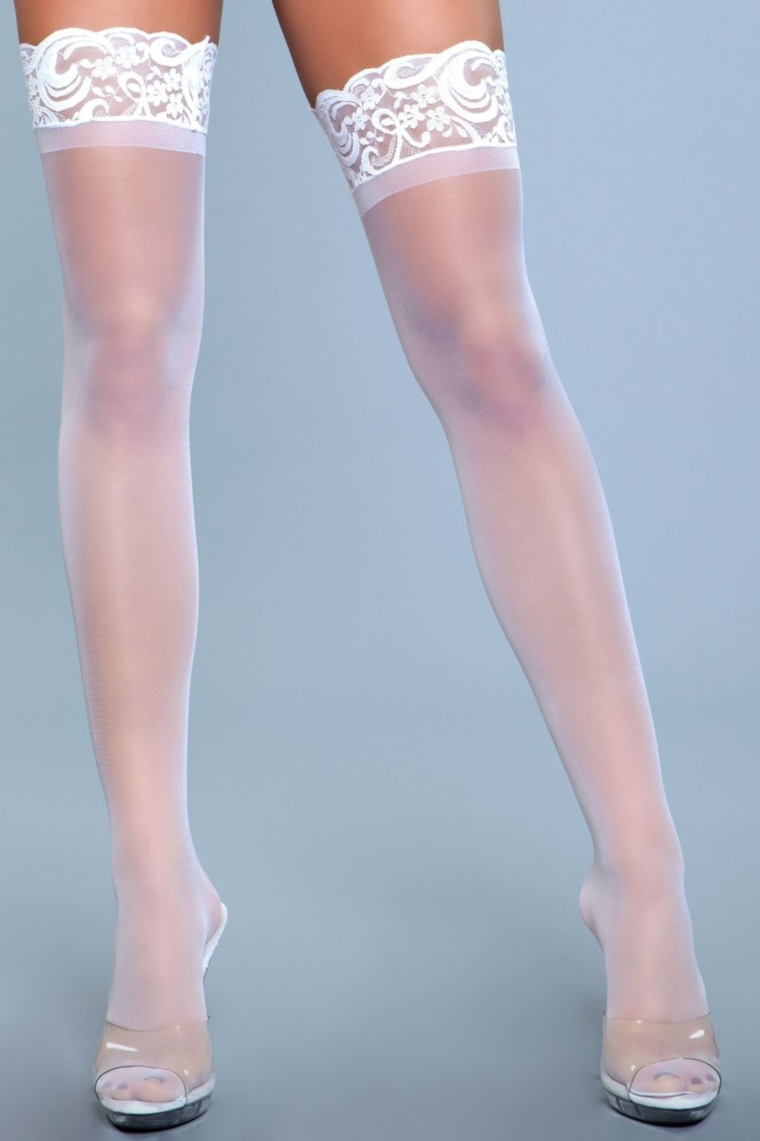 1919 Lace Over It Thigh Highs White