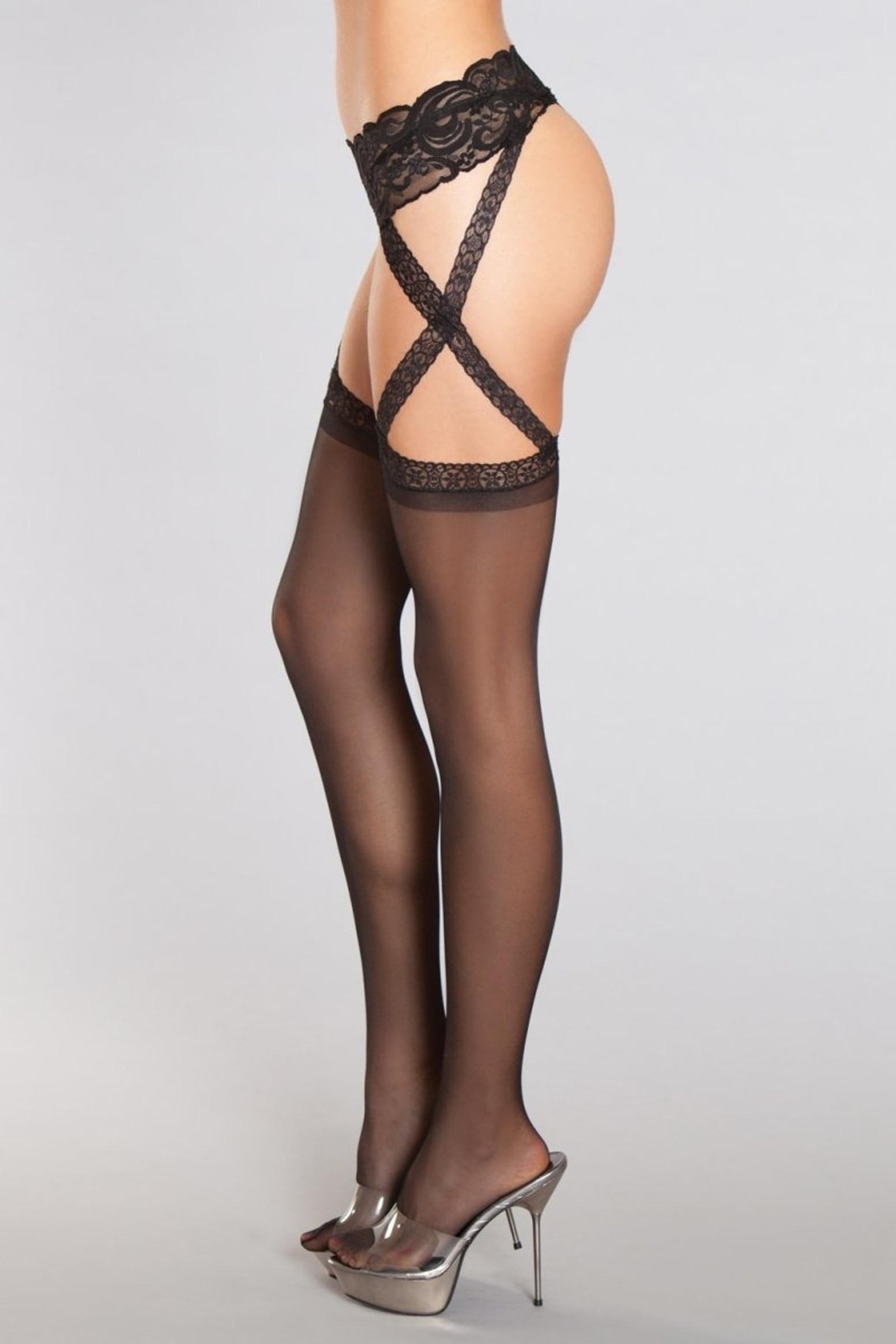 BWH805 Criss-cross Lace Garter Thigh Highs
