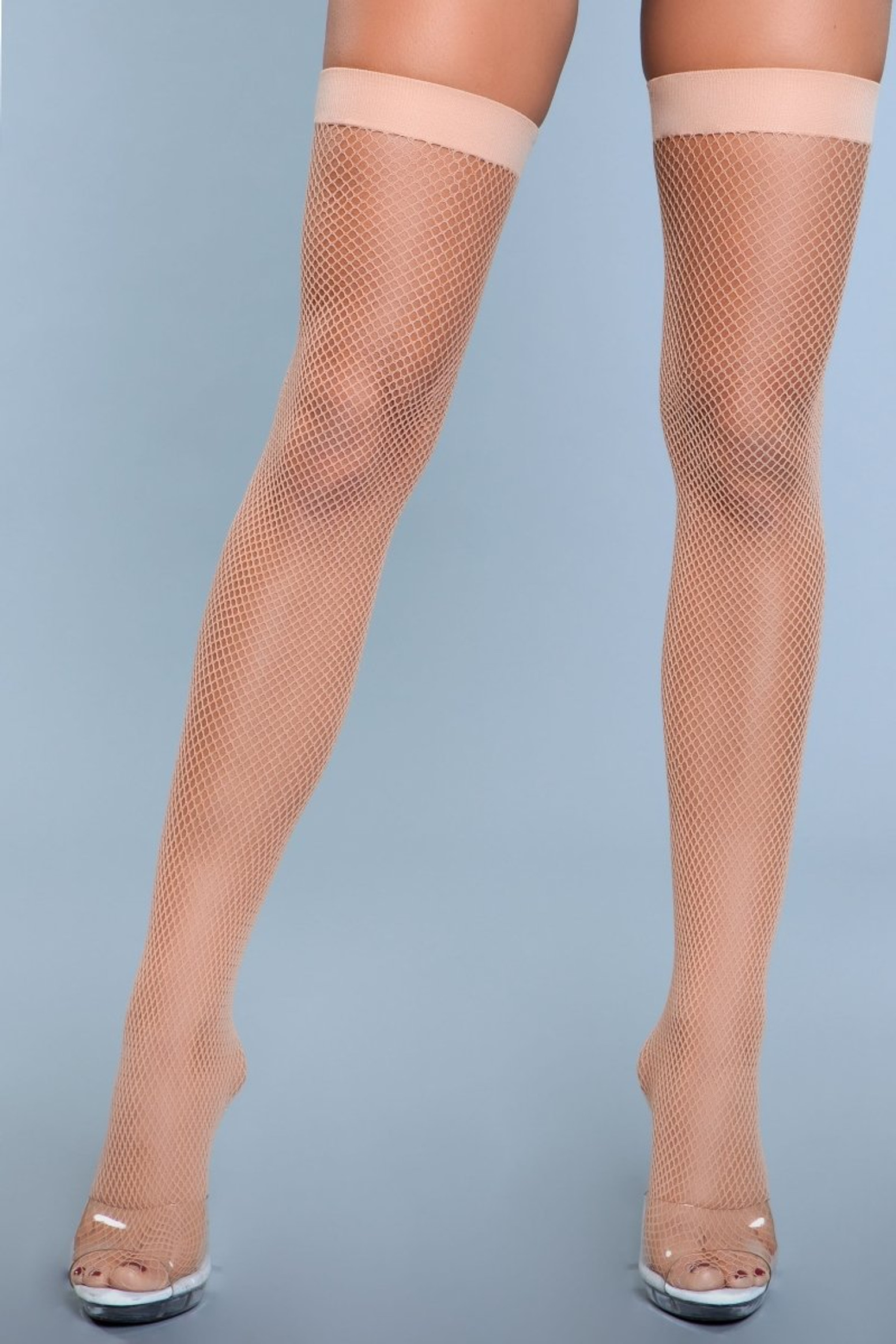 1931 Nylon Fishnet Thigh Highs Nude